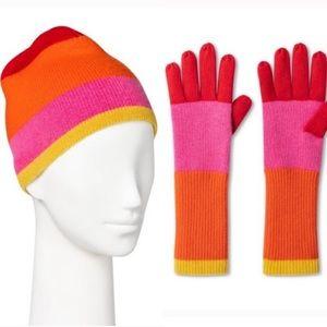 Isaac Mizrahi Cashmere ColorBlock Hat Glove SET